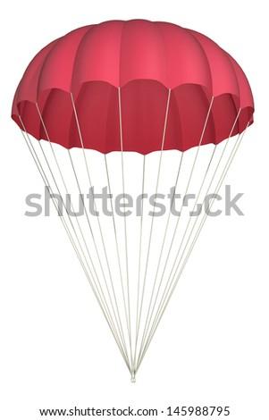 parachute on a white background - stock photo