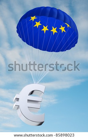 Parachute with the european flag on it holding a Euro currency symbol - concept for security funds for debt ridden countries in Europe - stock photo