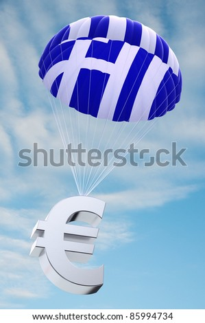 Parachute with the Greek flag on it holding a Euro currency symbol - concept for security funds for debt ridden Greece - stock photo