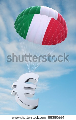 Parachute with the Italian flag on it holding a Euro currency symbol - concept for security funds for debt ridden Italy - stock photo