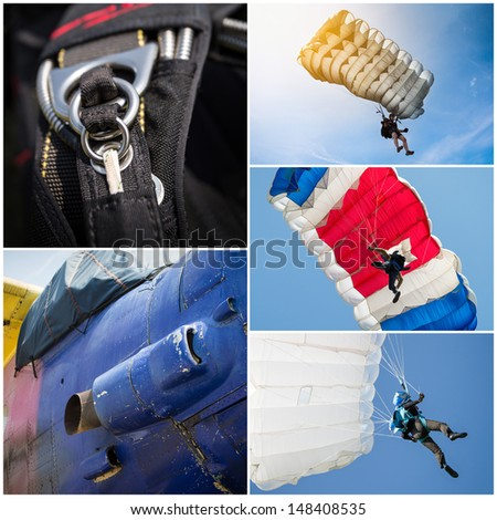 Parachutist collage - stock photo