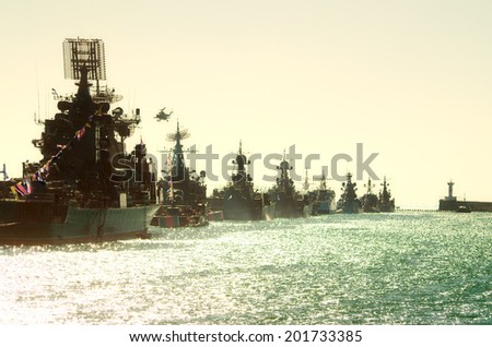Parade military marine sea fleet of Russia on May, 9th, 2014 in - stock photo