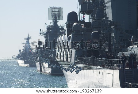 Parade military marine sea fleet of Russia on May, 9th, 2014 in Sevastopol - stock photo