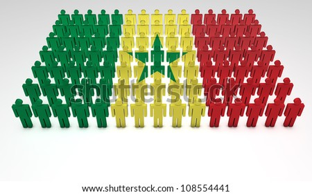 Parade of 3d people forming a top view of Senegalese flag. With copyspace.