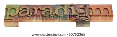 paradigm - a word in vintage wooden letterpress printing blocks, isolated on white - stock photo