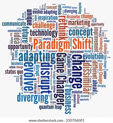 Paradigm Shift in word collage - stock photo
