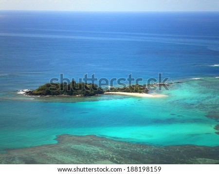 Paradise aerial deserted tropical island in Fiji. - stock photo