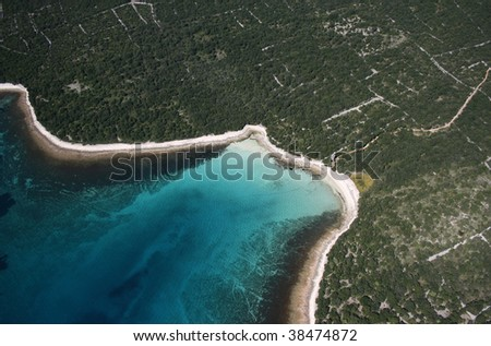 Paradise bay aerial view - stock photo