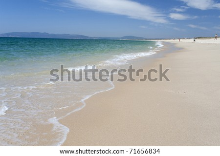 paradise beach; clean blue ocean with white sand