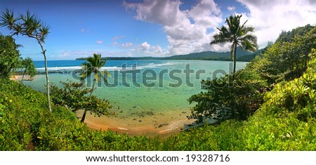 Paradise Beach in Kauai Hawaii With Turquoise Water and Palm Trees - stock photo