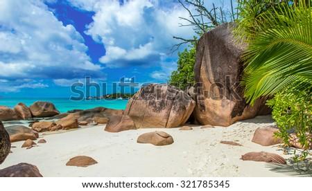 Paradise beach in Seychelles, island Praslin - Anse Lazio  - stock photo