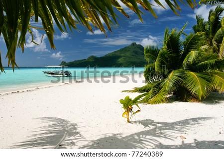 Paradise beach on Maupiti, French Polynesia - stock photo