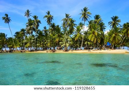 Paradise - beach on small island - stock photo