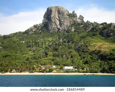 Paradise beach resort in Fiji Islands. - stock photo