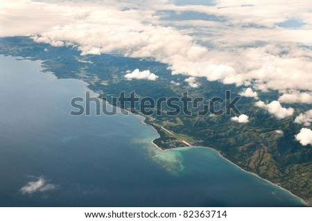 Paradise Bounty Island Aerial View, Pacific Ocean - stock photo