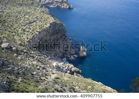 paradise, cliffs in Formentor, region north of the island of Mallorca in Spain - stock photo