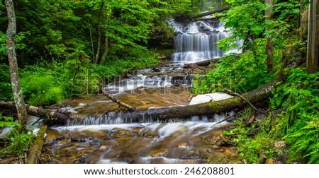 Paradise Found. Beautiful Wagner Falls in Michigan's Upper Peninsula. - stock photo