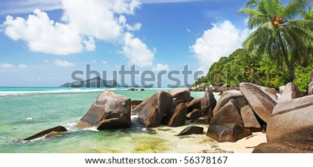 Paradise Lost,  stunning La Dique the most idyllic Beautiful Island of The Seychelles in the Indian Ocean - stock photo