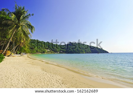 Paradise nature, sea water, summer and hotel house on the tropical beach. - stock photo