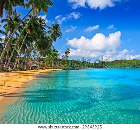 Paradise nature, sea water, summer and hotel house on the tropical beach - stock photo