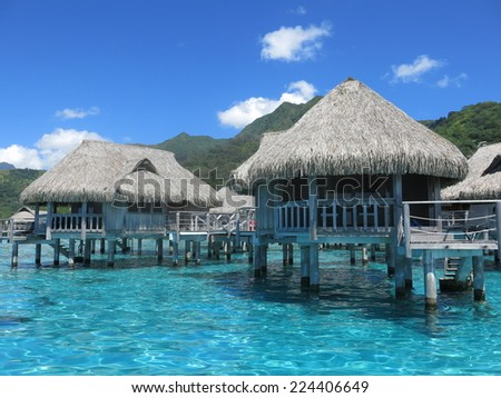 Paradise resort, Moorea island French Polynesia - stock photo