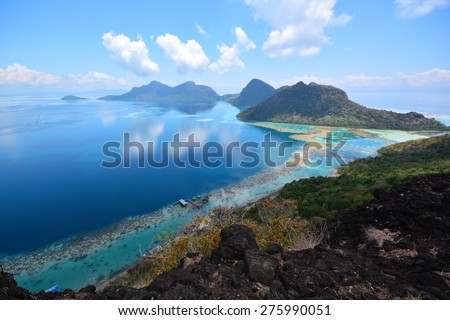 Paradise scenic view of Tun Sakaran Marine Park from the peak of Bohey Dulang Island, Semporna, Sabah Borneo, Malaysia. Tropical Island. - stock photo