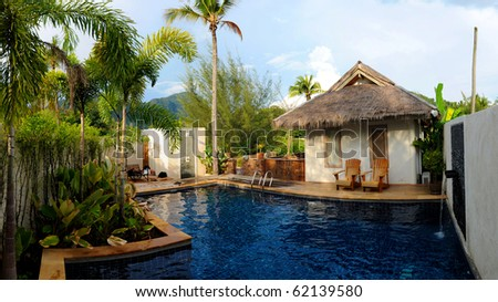 paradise swimming pool - stock photo