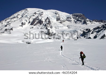 Paradise to Muir, climbing Mount Rainier, Washington, U.S.A. - stock photo