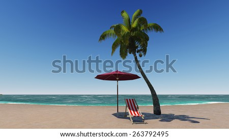 Paradise tropical beach with palm and chaise-lounge  - stock photo