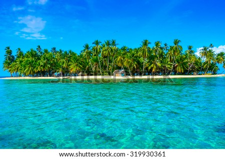 Paradise Tropical Island in Panama - San Blas - Kuna Yala - stock photo