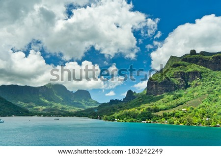 Paradise view of Moorea Islands, Cook's Bay, French Polynesia - stock photo