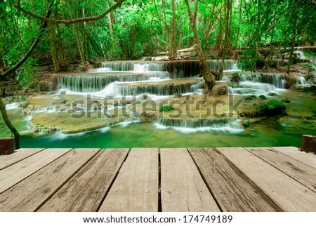 Paradise Waterfall (Huay Mae Kamin Waterfall) in Kanchanaburi, Thailand. - stock photo