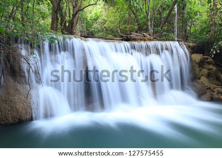 Paradise Waterfall in Kanchanaburi, Thailand - stock photo