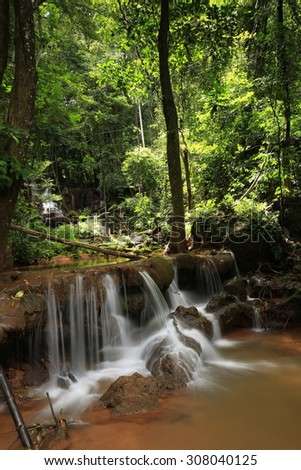 Paradise waterfall in Tropical rain forest of Thailand , water fall in deep forest at Tak province Thailand . The waterfall named Pha Charoen waterfall - stock photo