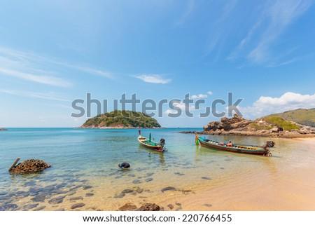 Paradisiac beach of Patong, Koh Phuket in Thailand - stock photo