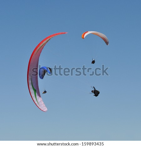 Paragliders in the south of Sweden - stock photo