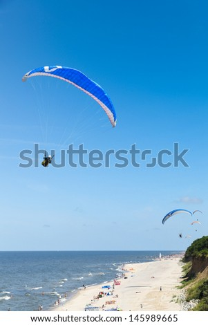 paragliding at the sea side in Poland