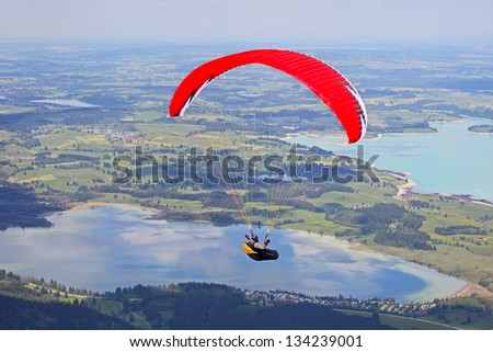 Paragliding in Bavaria, Fuessen - stock photo