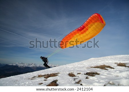 Paragliding Take off - stock photo