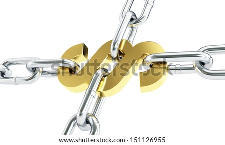 Paragraph gold chain links isolated on a white background - stock photo
