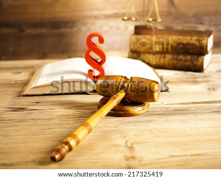 Paragraph, law theme, mallet of judge, wooden gavel - stock photo