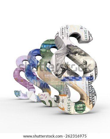 Paragraph sign with dollar, euro and francbills isolated over white. Computer generated 3D photo rendering. - stock photo
