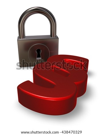 paragraph symbol and padlock - 3d rendering - stock photo