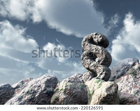 paragraph symbol rock under cloudy blue sky - 3d illustration - stock photo