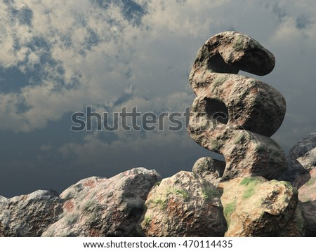 paragraph symbol rock under cloudy blue sky - 3d rendering