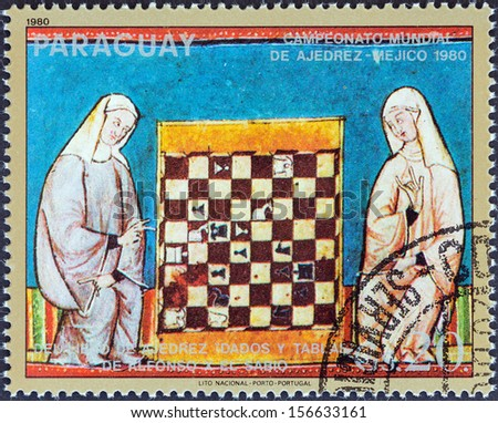 "PARAGUAY - CIRCA 1980: A stamp printed in Paraguay from the ""World Chess Championships, Mexico. Illustrations from The Book of Chess"" issue shows Two women in robes, chess board, circa 1980."