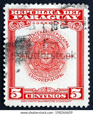 PARAGUAY - CIRCA 1948: a stamp printed in Paraguay shows Archbishopric Coat of Arms, Asuncion, circa 1948 - stock photo