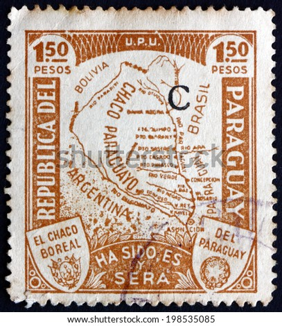 PARAGUAY - CIRCA 1935: a stamp printed in Paraguay shows Map of Gran Chaco, Lowland Natural Region of the Rio de la Plata Basin, circa 1935 - stock photo