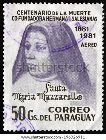 PARAGUAY - CIRCA 1981: a stamp printed in Paraguay shows Mother Maria Mazzarello, Co-Founder of Daughters of Mary, circa 1981 - stock photo