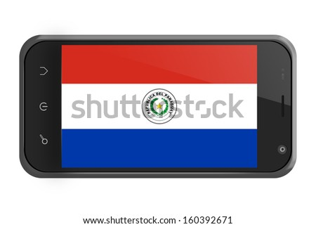 Paraguay flag on smartphone screen isolated on white - stock photo